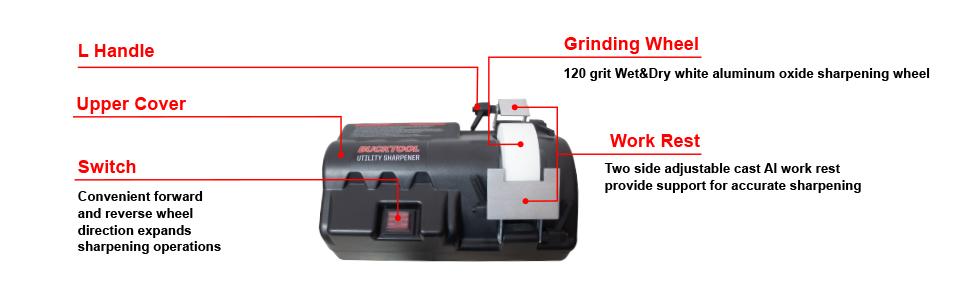 BUCKTOOL   SCM4500 Knife & Tool Sharpener Electric Wet/Dry Utility Sharpener 0.7A Low Speed First-class WA Grinding Wheel, Model SCM4500