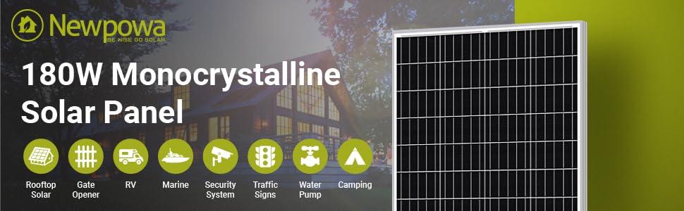 newpowa 180w solar panel Monocrystalline