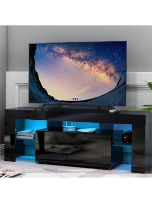 Leisure Zone - Mueble para televisor (Acabado Mate, con Luces LED), Color Negro: Amazon.es: Hogar