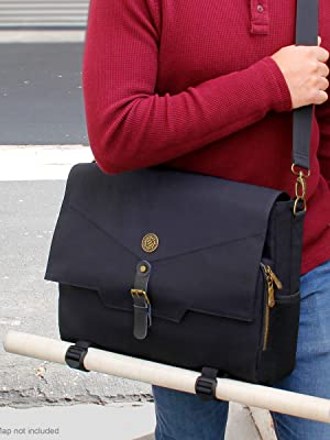 Person carrying bag with battle map