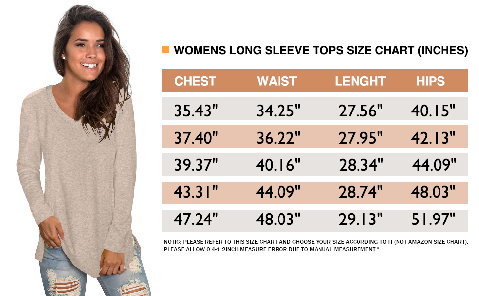 womens tops long sleeve