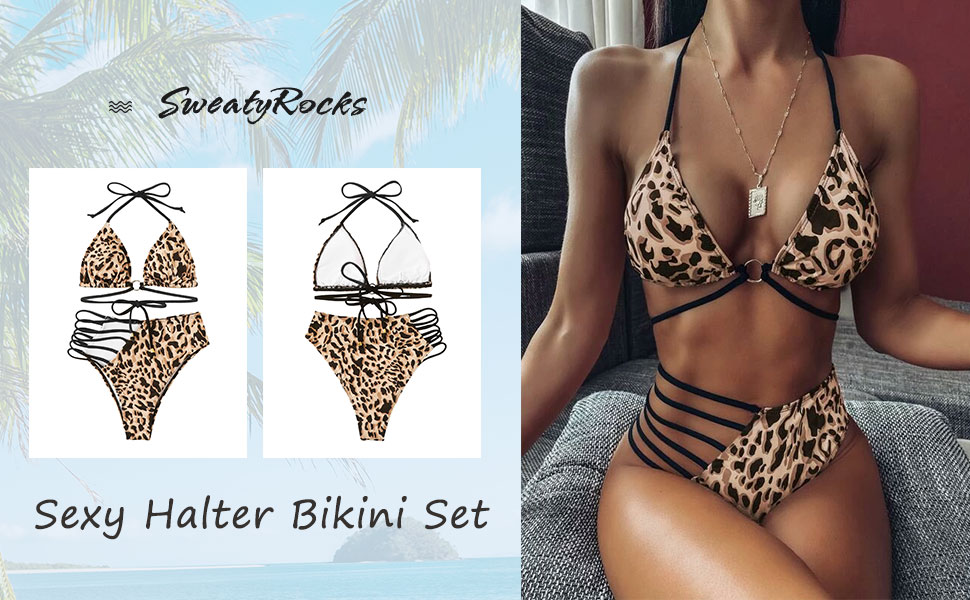 Sexy Swimwear Cut Out Halter Top Leoprad Print High Waist Bottom Bikini Set