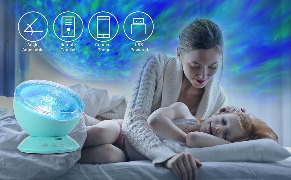 ocean wave projector mermaid night light ocean wave light projector