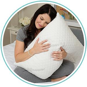 Woman cuddling a soft pillow, sleeping on a bamboo pillow and opening the pillow's zipper.