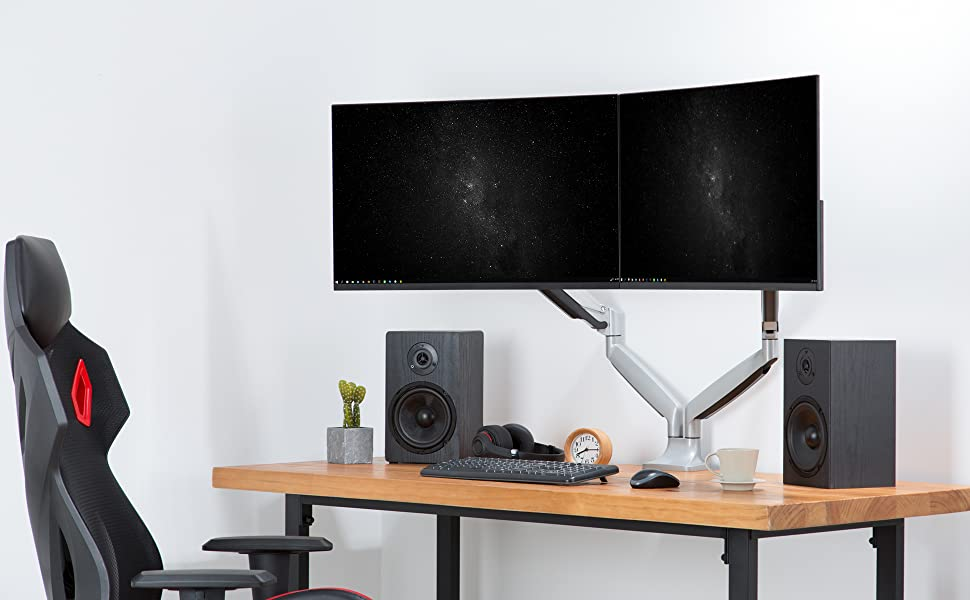 we designed this monitor mount for maximum ergonomic comfort to relieve eye, neck and back strain