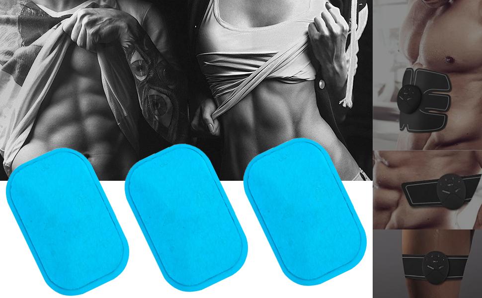 30X Gel Pads Sheet ABS Stimulator Trainer Abdominal Toning Belt Muscle Toner 9UK