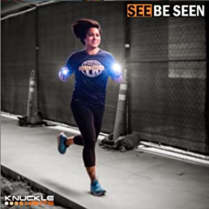 See and be seen at night or in the dark with Knuckle Lights for running and walking at night