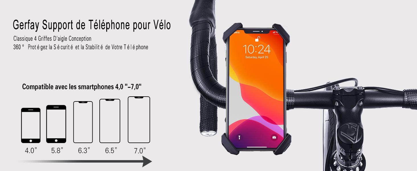 Samsung Galaxy S10 S10 S9 Note 9 8,F GUARDUU Support T/él/éphone V/élo Support Smartphone Moto VTT en Alliage Daluminium /À Rotation /À 360 /° pour iPhone XS Max XR X 8 7 6 Plus