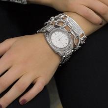 fashion watch watches women womens crystal bracelet set round dial analog metal strap steve madden