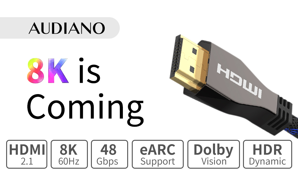 3ft Braided HDR HDMI 2.1 8K 4K Ultra UHD Metal Ends Sky Q Smart TV Gaming Cable