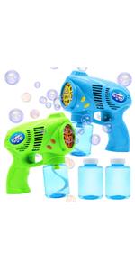 2 Bubble Guns with 2 Bottles Bubble Refill Solution