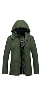 Men's Cotton Military Windbreaker Jacket with Hood Casual Coat