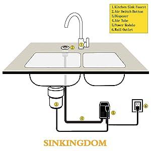 sinkingdom air switch kitchen garbage disposal brass button