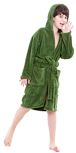 green hooded robe for kids
