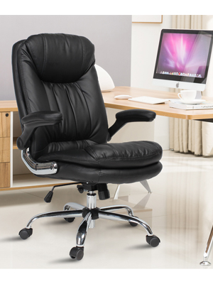 High Back Desk Chair with Flip-Up Arms and Comfy Thick Cushion