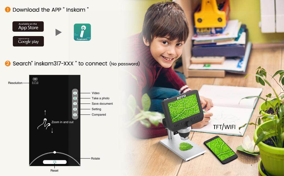 1080P Endoscopio Ingrandimento 1000X,8 LED Microscopio Digitale con Supporto in Metallo per Smartphone Windows Mac PC ZOTO LCD da 4,3 pollici Microscopio Digitale WiFi