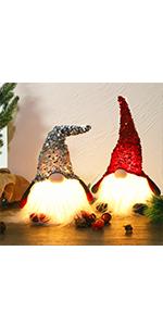 14Inch Lighted Christmas Plush Gnome, 2 Set