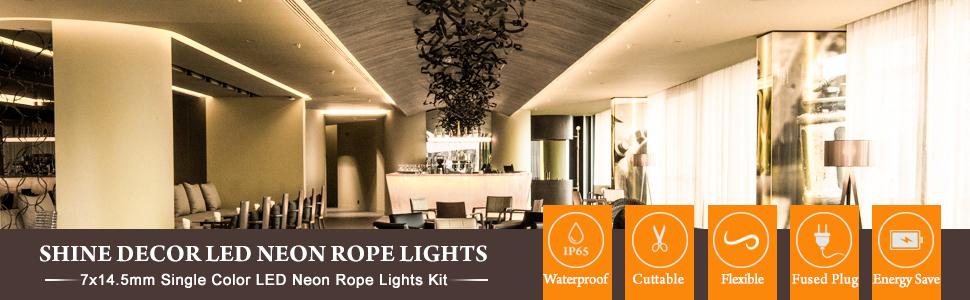 shine decor led neon rope light 15m warm white flexible tube 3000k 220v 240v led strip light