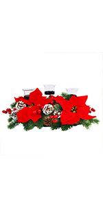 Christmas Poinsettia 3 Pcs Candle Holder Centerpiece