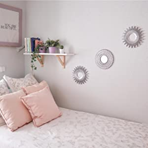 Silver small mirror for bedroom