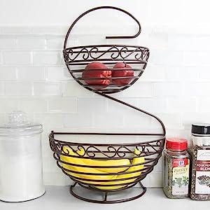fruit basket with banana tree, fruit basket with banana holder, fruit bowl with banana hanger, f