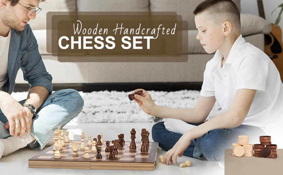 """wooden chess 12"""" A+ 01"""
