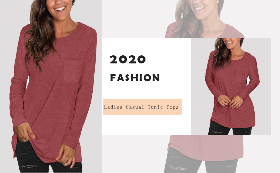womens loose fit tunic tops