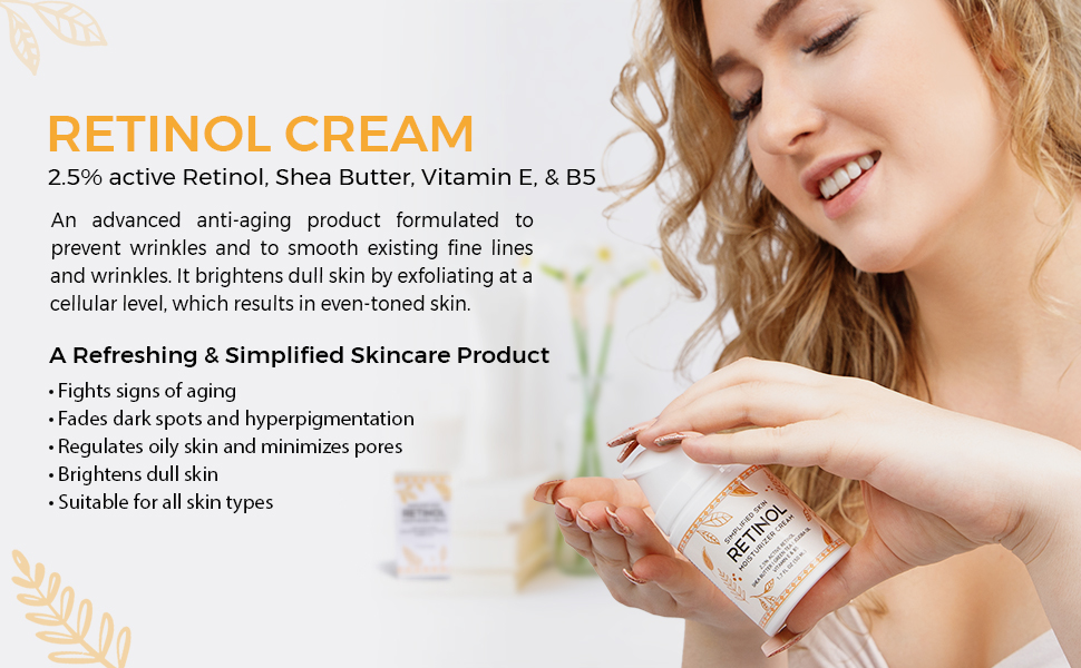 """Woman squeezing Retinol Cream onto her hand with the title """"Retinol Cream"""" and product benefits"""