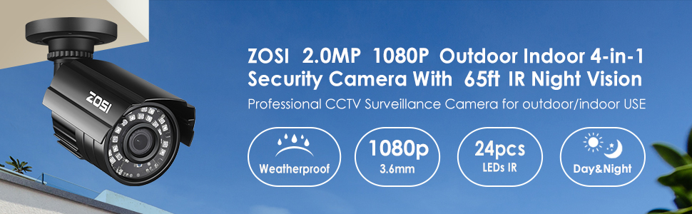 security camera  ZOSI 1080P Hybrid 4-in-1 HD TVI/CVI/AHD/CVBS 1920TVL 2.0MP CCTV Camera Home Security System 80ft Day/Night Vision Metal Waterproof Housing For 960H,720P,1080P,5MP,4K analog Surveillance DVR f50af346 e1b7 48bc 9015 c8c13ee02ad0