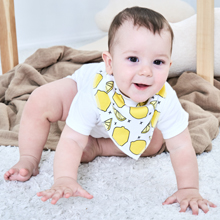 Our stylish baby bandana drool bibs features Dual-Layered Design: 100% Soft Organic Cotton with