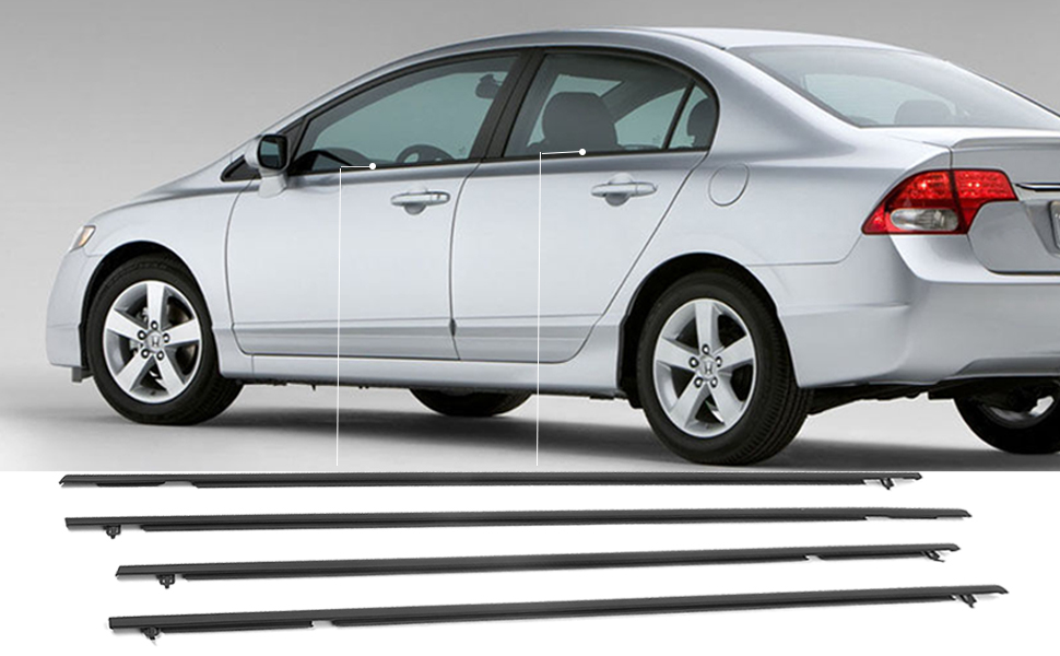 4PCS Window Weather Stripping is compatible with Honda Civic Sedan 2006 2007 2008 2009 2010 2011