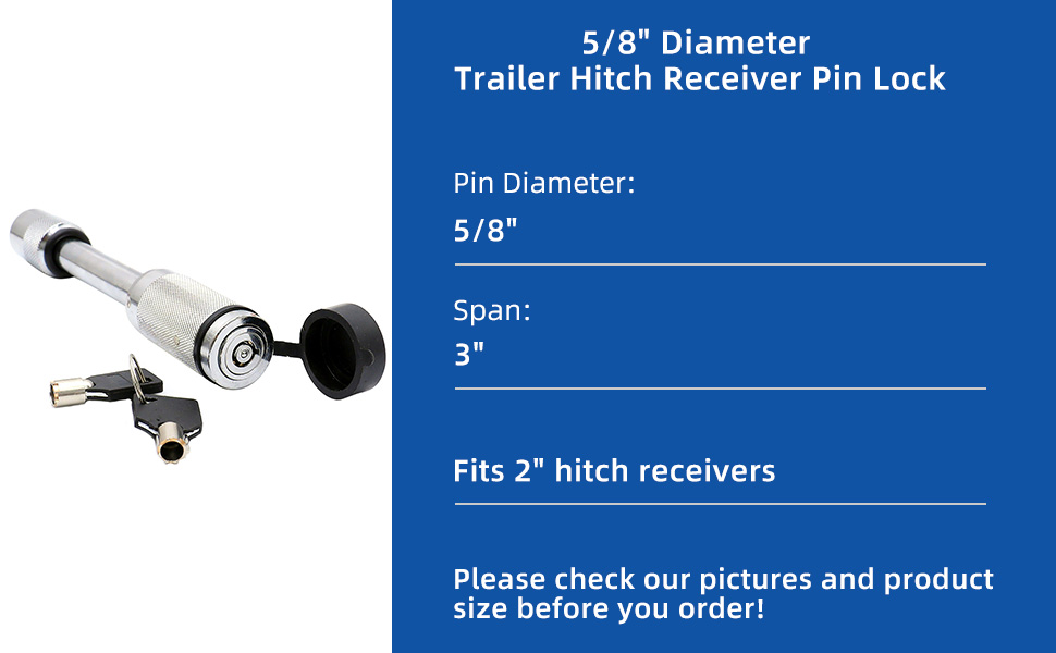 UCUT Trailer Hitch Receiver Lock Pin 2-1//2 inches Receiver 5//8 inch Diameter Fits 2 inches