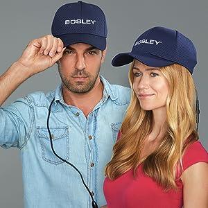 Two people wearing Bosley cap