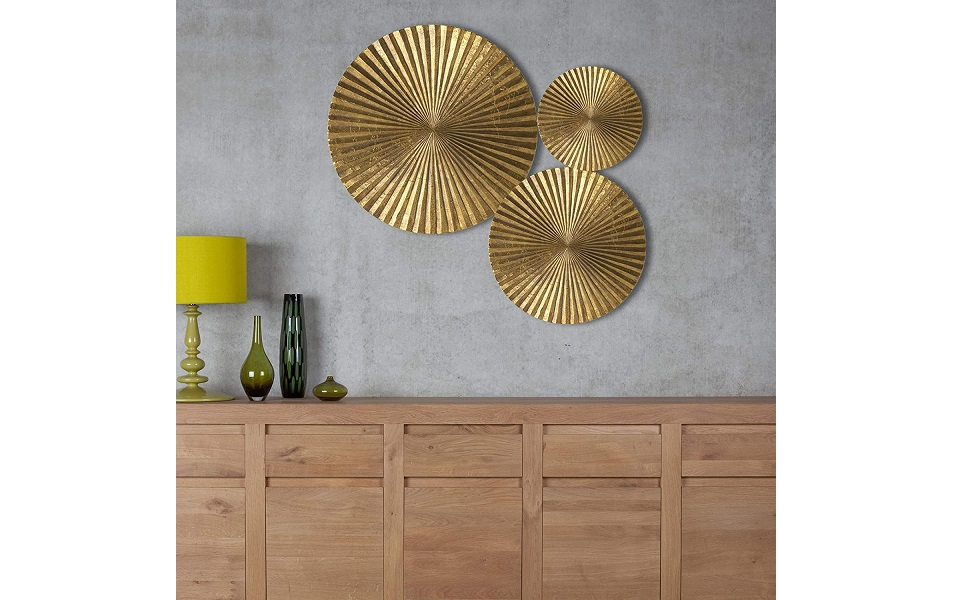 Craftter Set Of 3 Bright Gold Color Circles Metal Wall Decor Hanging Large Wall Sculpture Art Amazon In Home Kitchen