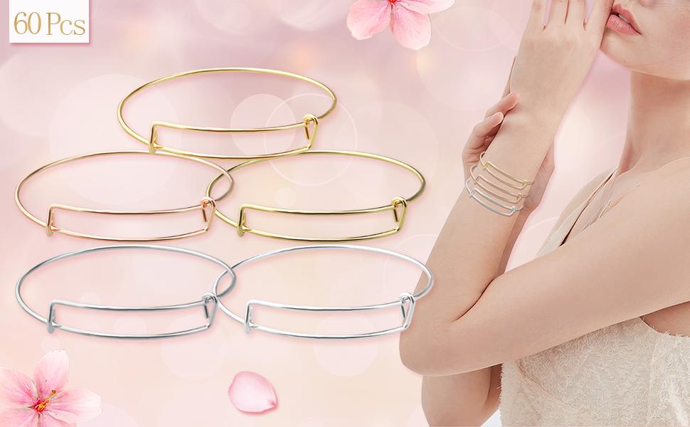60 Pcs 5 Colors Expandable Bangle Bracelets Adjustable Wire Blank Bracelets