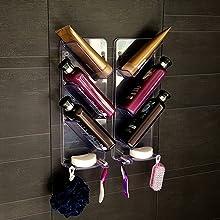 Najlepszy odporny na rdzę pojemnik prysznicowy, który wisi na ścianie łazienki