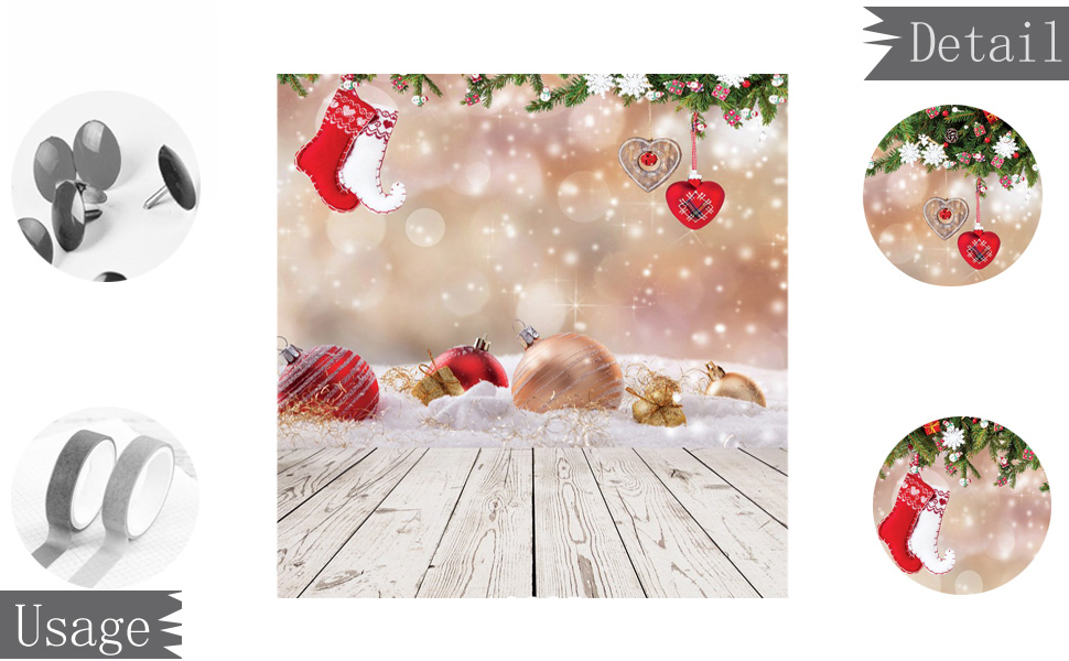 Wofawofa Merry Christmas Backdrop 10X8FT Vinyl Xmas Gifts Wreath Backdrops Red Balls Decoration Trees Reindeer Santa Claus Photography Background for Greeting Happy New Year Photo Studio Props EB115