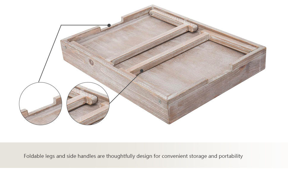 Vintage Graywashed Wood Breakfast Tray w/Foldable Legs portable folding compact trays platters stand
