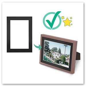 black photo mat put in brown frame with print protect photo