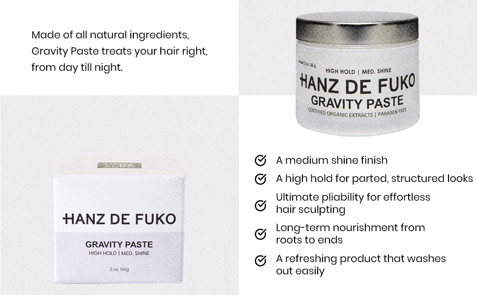 All natural ingredients, for day and night, shine finish, high hold, pliable, effortless, nourshing