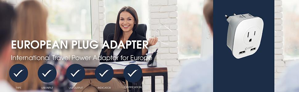 European plug adapter, international travel power adapter for Europe