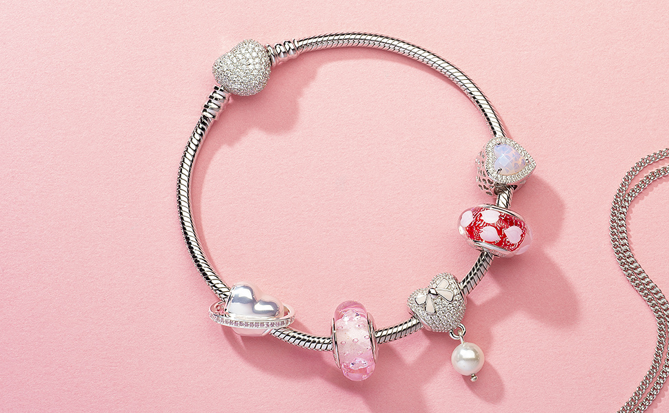 silver heart charms bracelet with italian murano glass beads