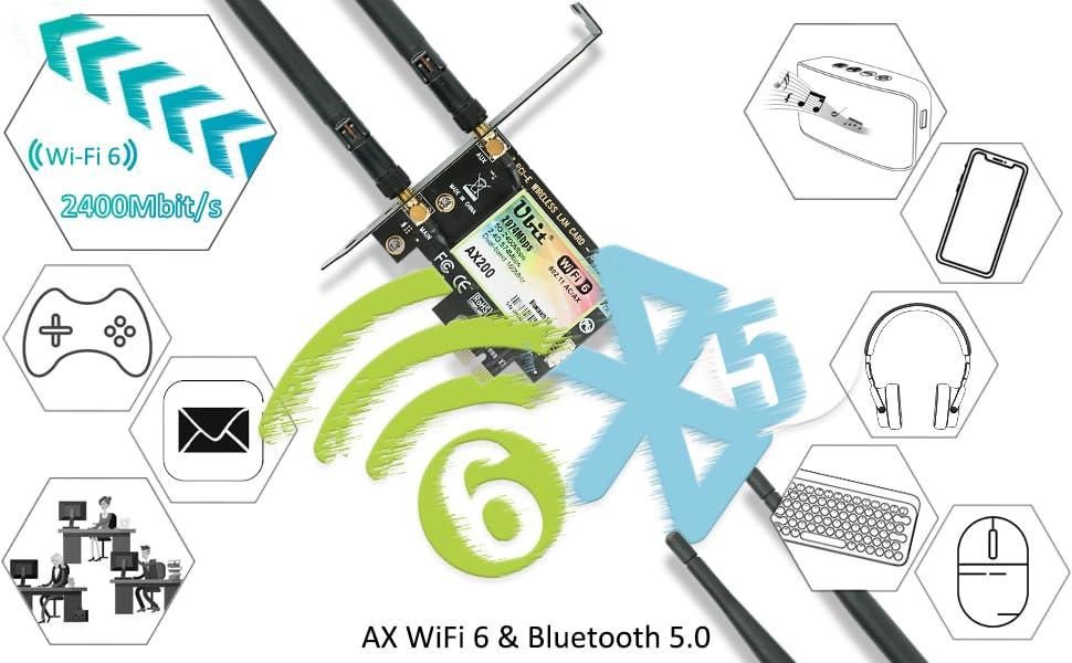 AX200 WiFi 6 AX 2974Mbps Pcie WiFi Card