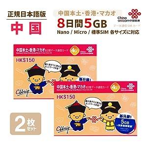 中国香港マカオ専用プリペイドSIMカード2枚セット