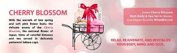 Bath Gift Sets for Women, Cherry Blossom, Bath Spa Gift Set, Gift Set for Her, Bath and Body Set