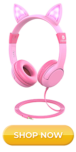 LED Backlight, Safe Wired Kids Headsets 85dB Volume Limited, Food Grade Silicone