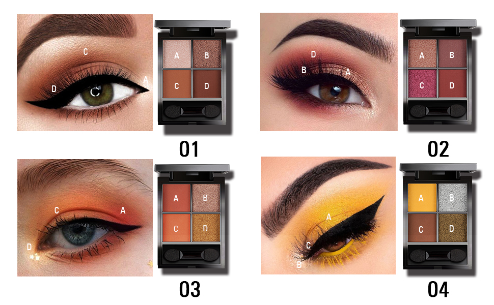 4shades eye shadow pallet travel size makeup