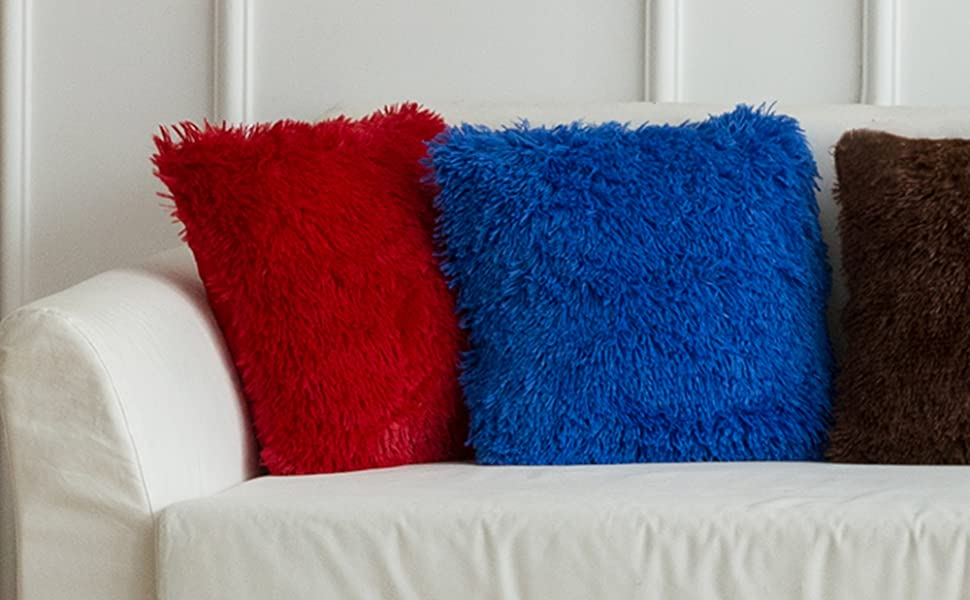 faux fur pillow covers red blue black home decor