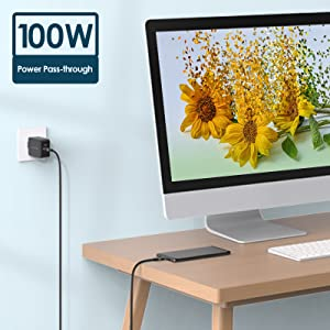 Support all protocol PD charging and up to 20V/5A (100W) power pass-through.