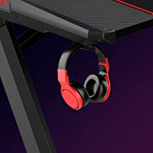 gaming table with headphone hook